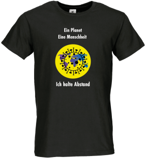 Männer Coronavirus Schutz T-Shirt Schwarz