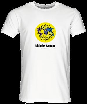 """Männer Coronavirus Schutz T-Shirt Weiß """"Ein Planet, ich halte Abstand"""""""