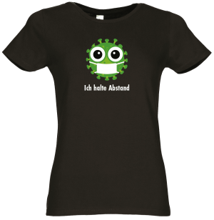 Frauen Coronavirus Schutz T-Shirt Schwarz