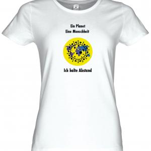 Frauen Coronavirus Schutz T-Shirt Weiß