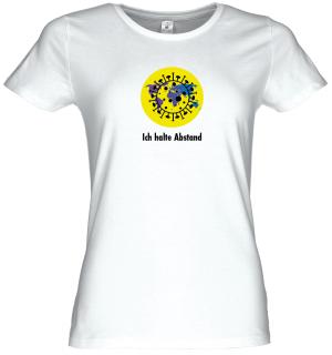 """Frauen Coronavirus Schutz T-Shirt Weiß """"Ein Planet, ich halte Abstand"""""""